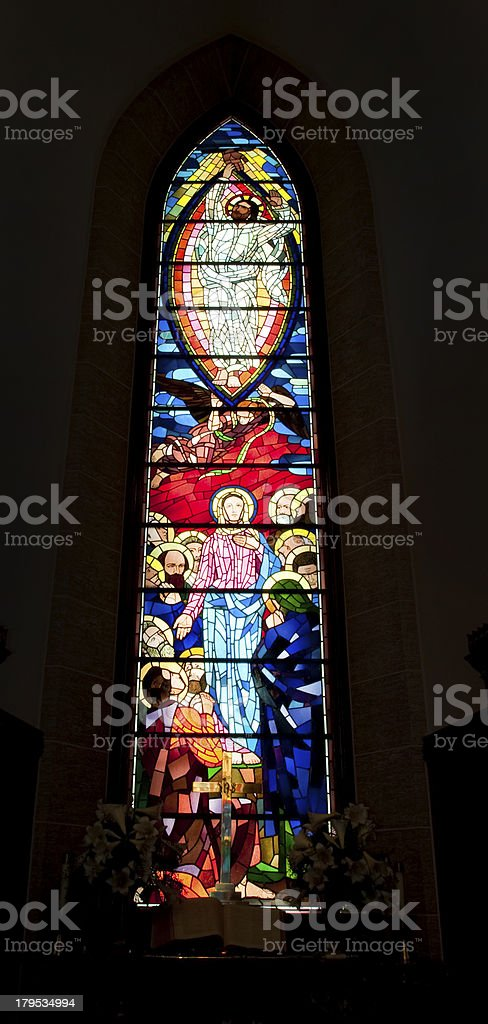Stained glass window in Washington Masonic National Memorial stock photo