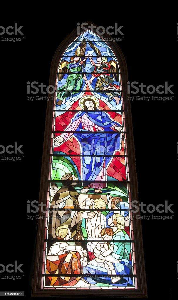 Stained glass window in Washington Masonic National Memorial royalty-free stock photo
