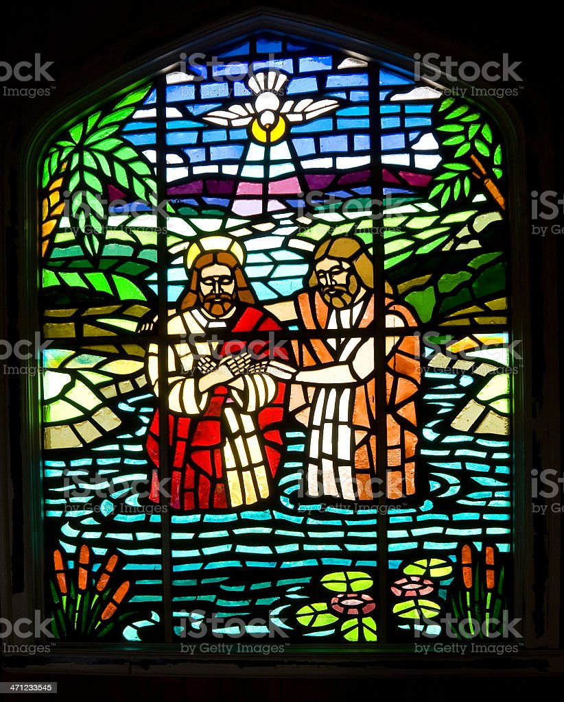 Stained Glass Window - Jesus Baptism royalty-free stock photo