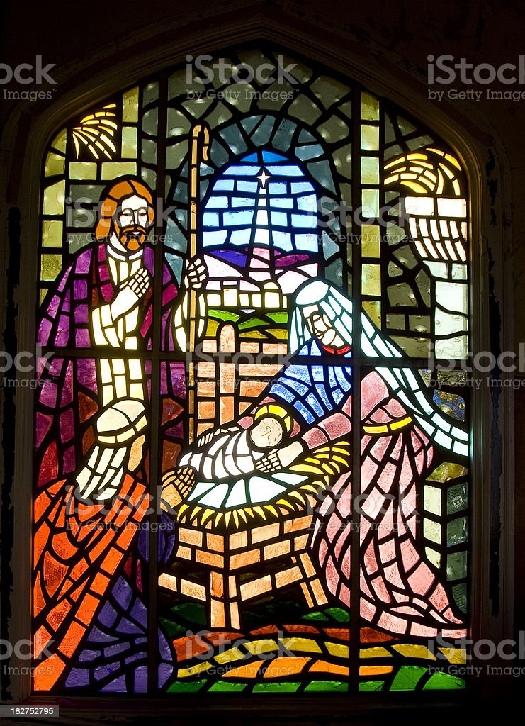 Stained Glass Window - Jesus Christ and the Nativity stock photo