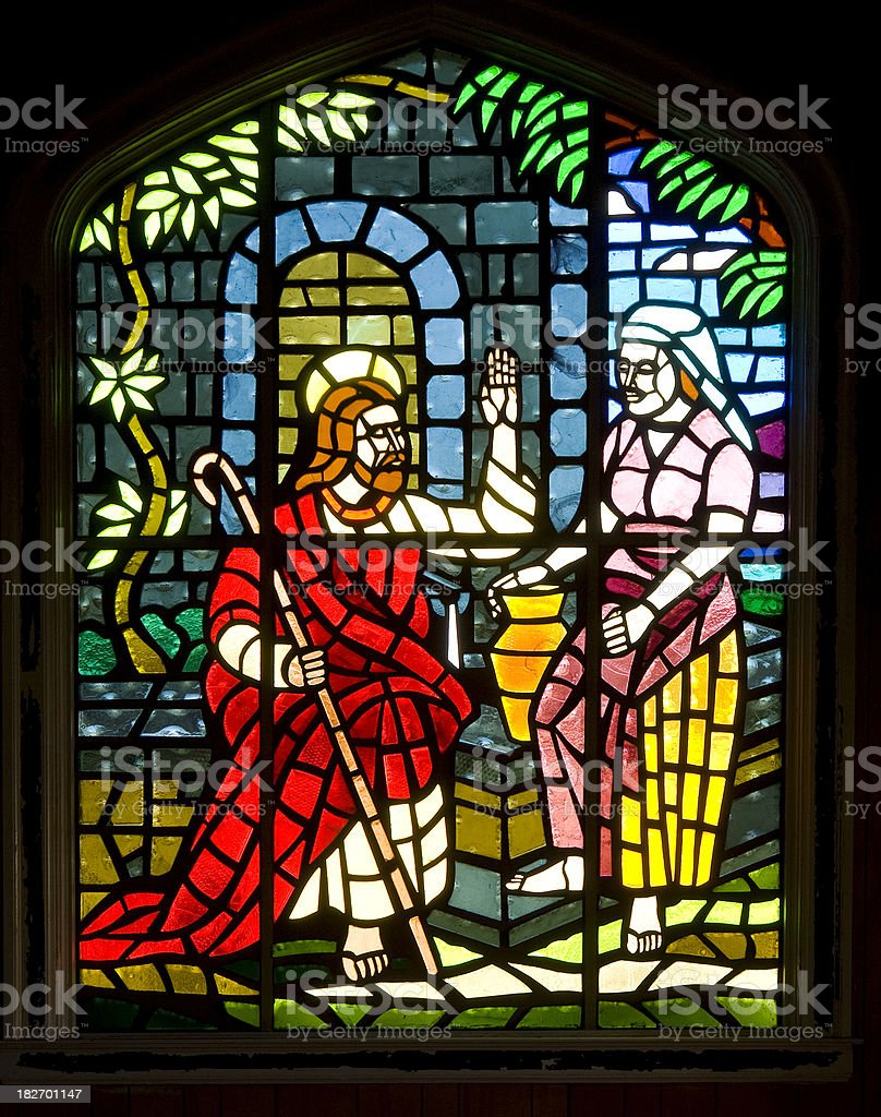Stained Glass Window - Jesus Christ Turning Water into Wine royalty-free stock photo