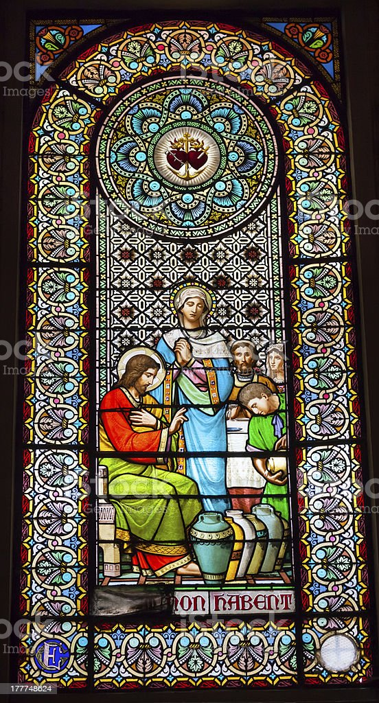 Stained Glass Window Jesus Mary Cana Monastery Montserrat Catalonia Spain stock photo