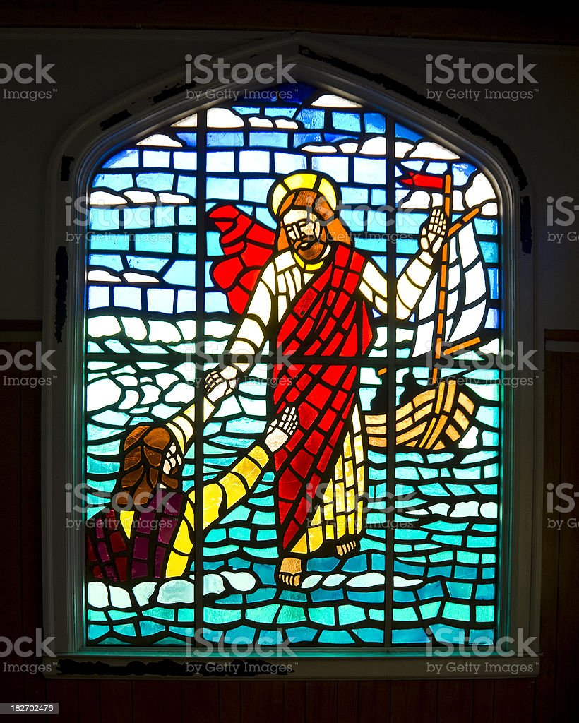 Stained Glass Window - Jesus Walking on Water royalty-free stock photo