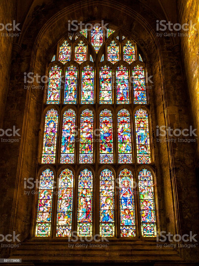 Stained glass window of church stock photo