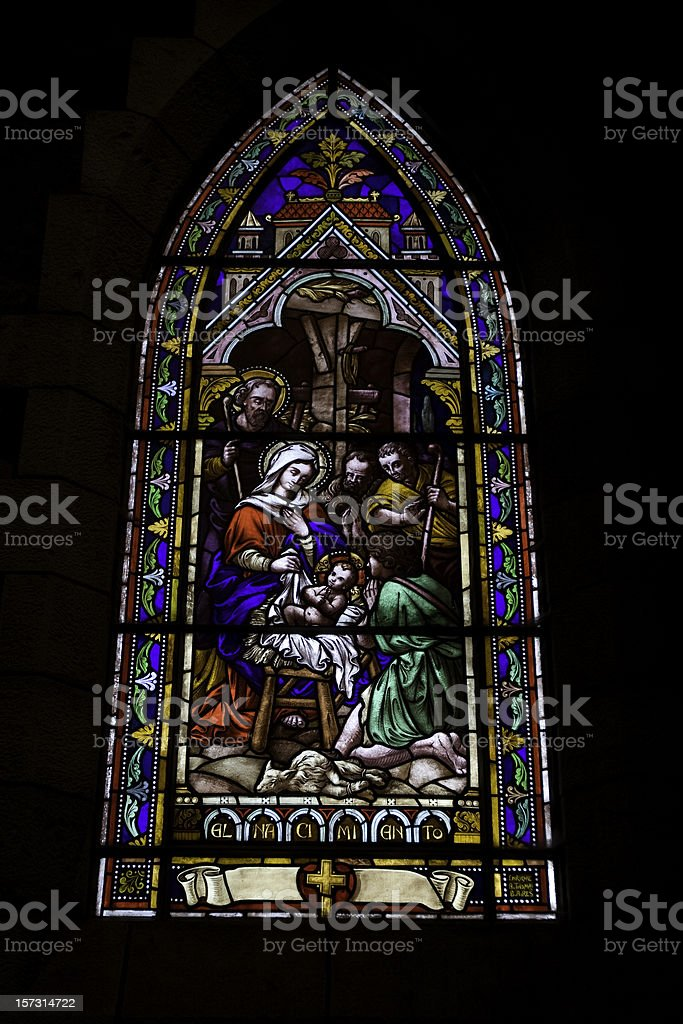 Stained glass window of Nativity royalty-free stock photo