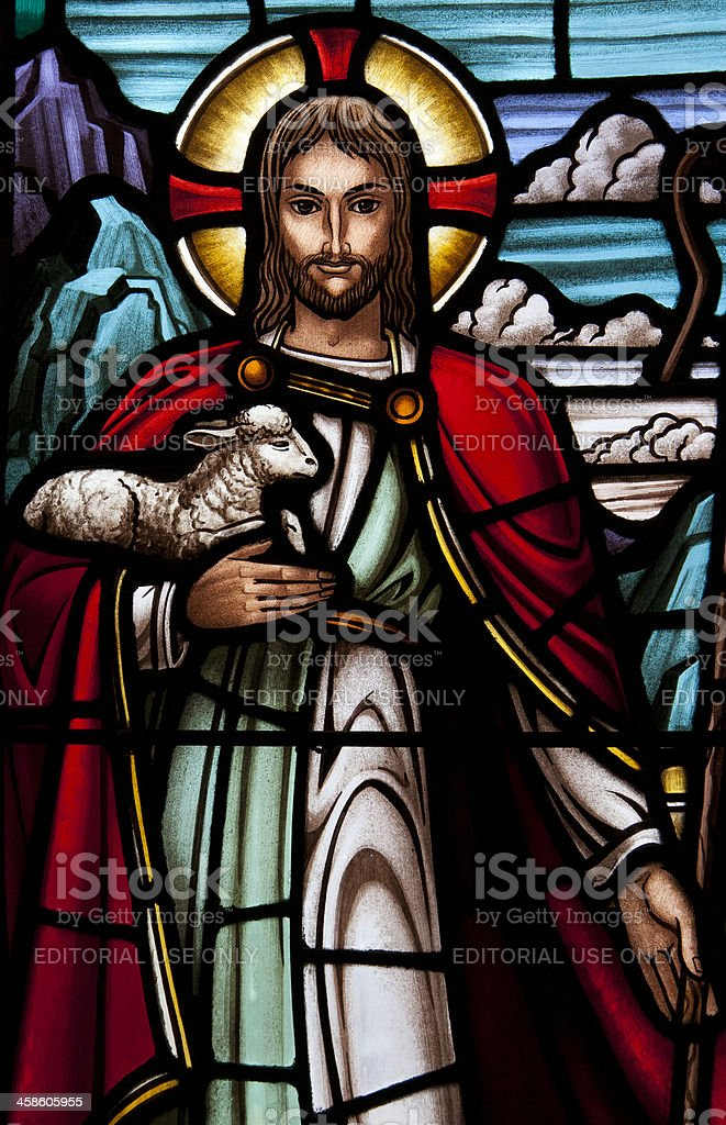 Stained glass window of rural church royalty-free stock photo