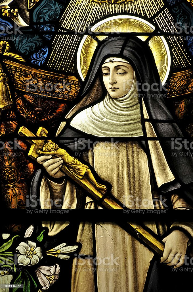 Stained Glass window of St Monica stock photo