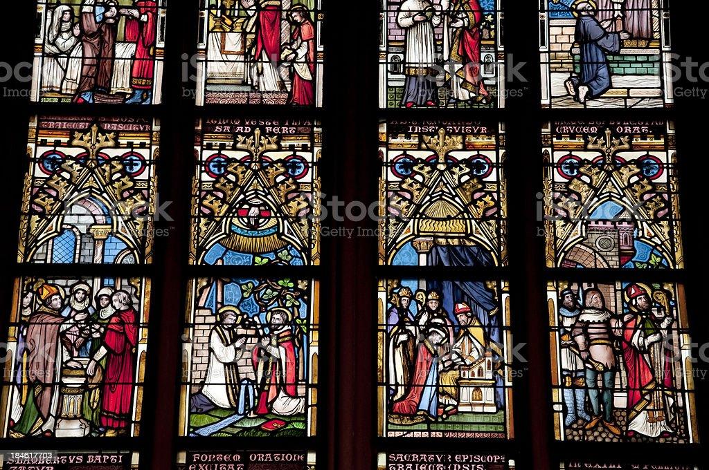 Stained glass window OL Vrouwekerk stock photo