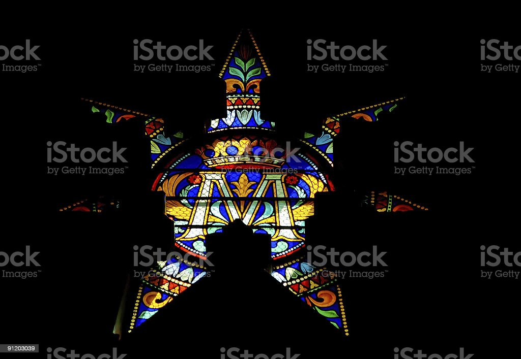 stained glass window (star) royalty-free stock photo