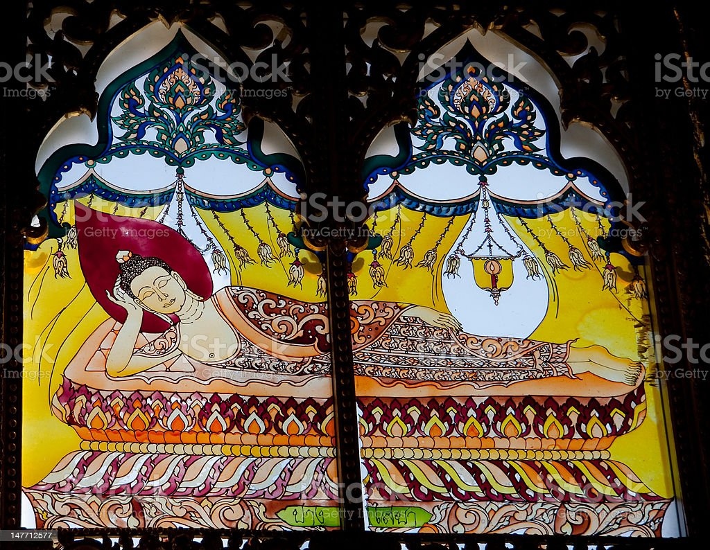 Stained Glass Window,  Reclining Buddha, Thailand royalty-free stock photo