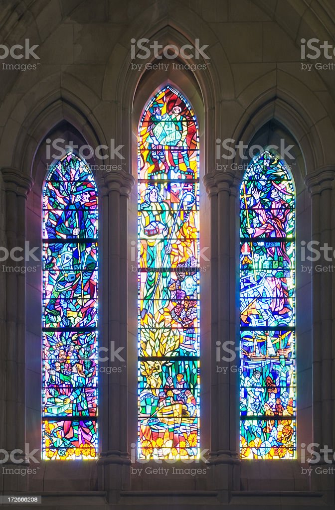Stained Glass Window Set of 3 royalty-free stock photo