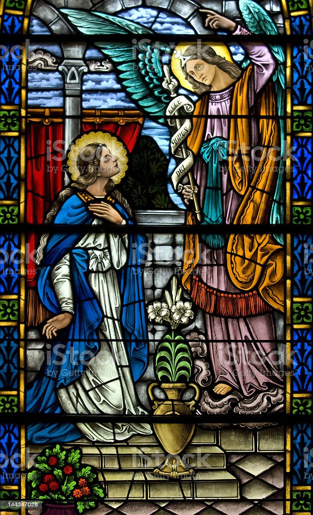 Stained glass window the Annunciation of Gabriel stock photo