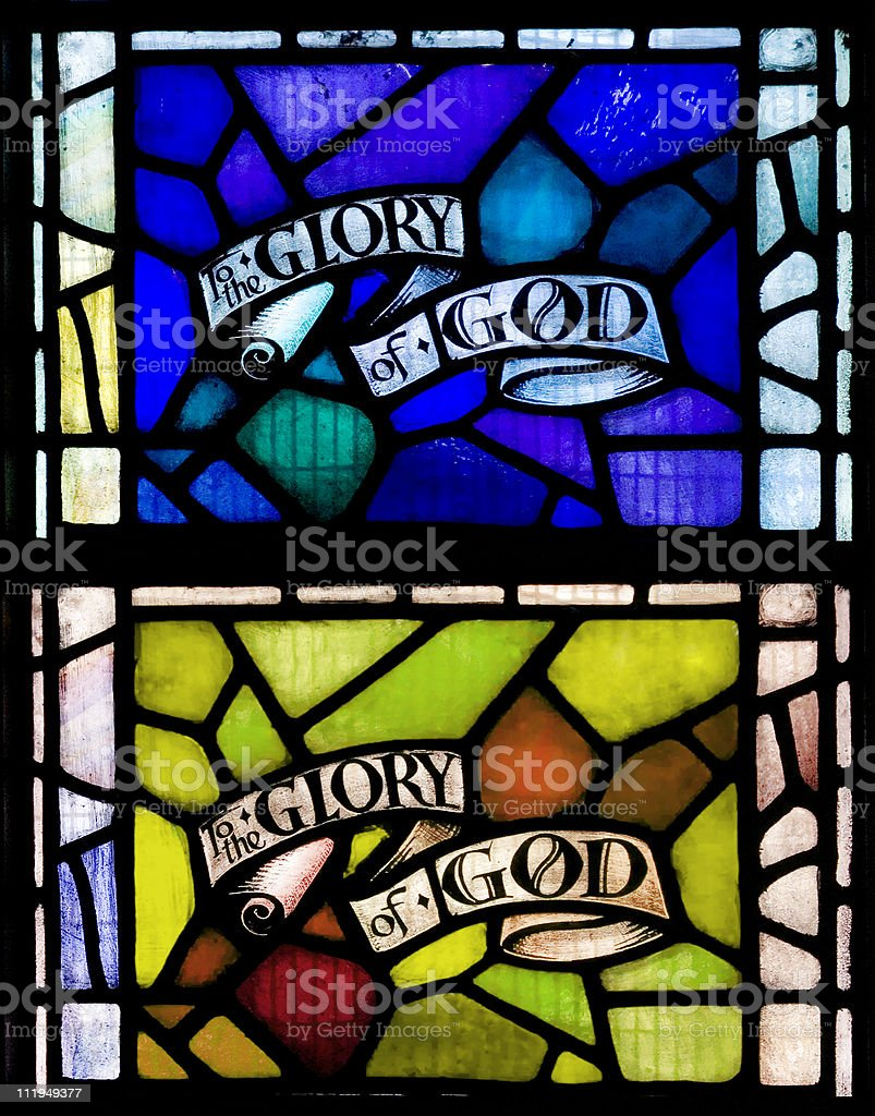 Stained glass window to the glory of god royalty-free stock photo