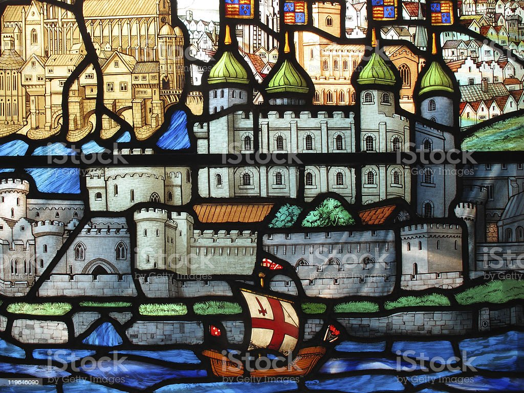 Stained Glass Window, Tudor galleon, Tower Of London stock photo