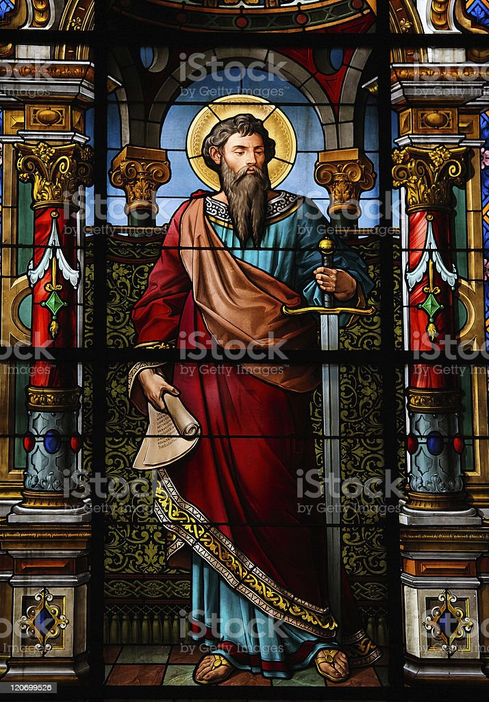 Stained glass window with Saint Paul, the Apostle stock photo