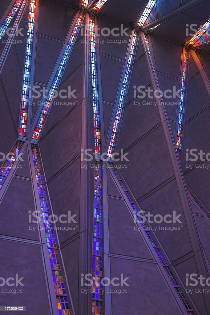 Stained glass windows of Air Force Academy chapel royalty-free stock photo