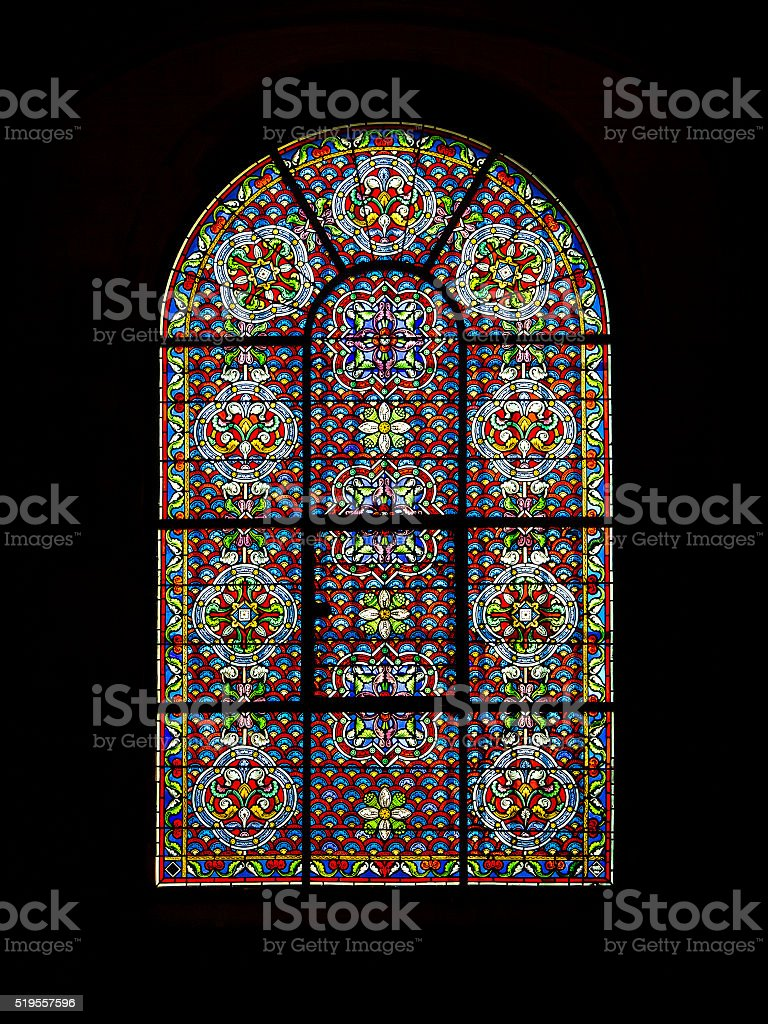 Stained glass windows of church stock photo