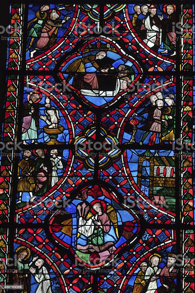 Stained glass windows of Saint Gatien cathedral in Tours royalty-free stock photo