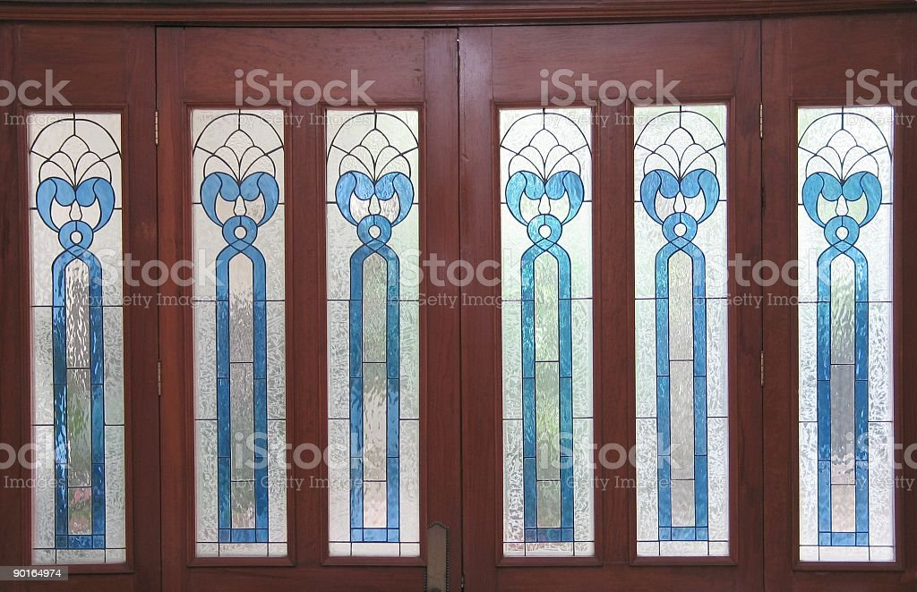 Stained Glass Windows on Door royalty-free stock photo