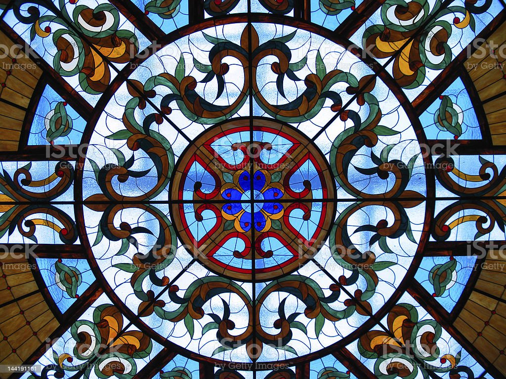 Stained glass windows with colors stock photo