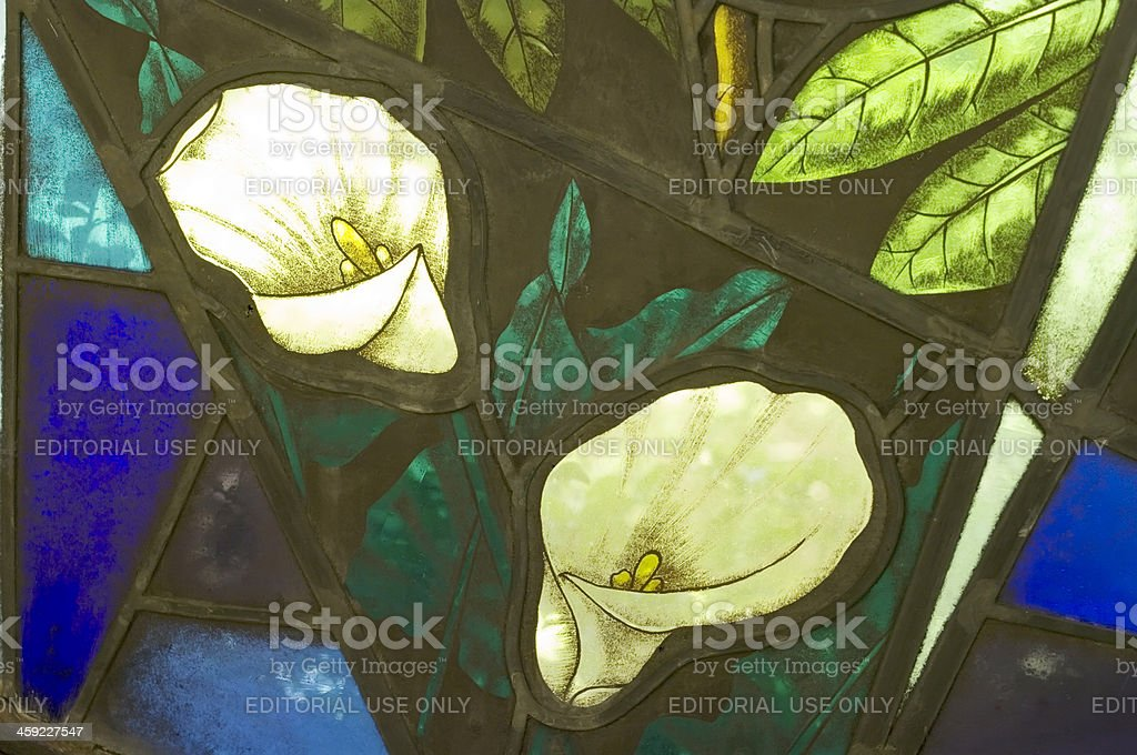 Stained Glass Windows with Flower Art stock photo