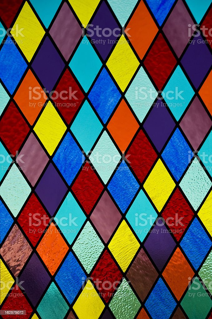 Stained glass with diamond pattern royalty-free stock photo