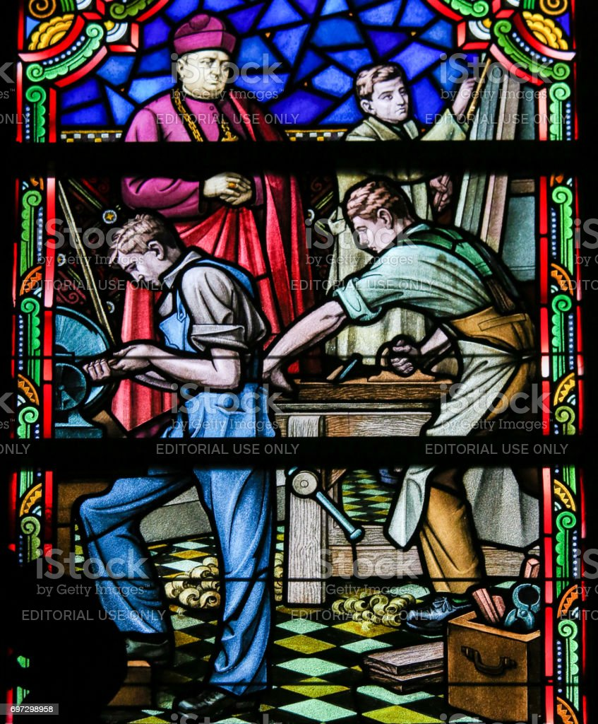Stained Glass - Woodworking stock photo