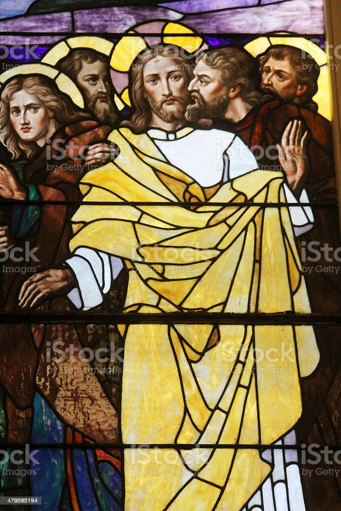 Stained Glass-The Kiss of Judas stock photo