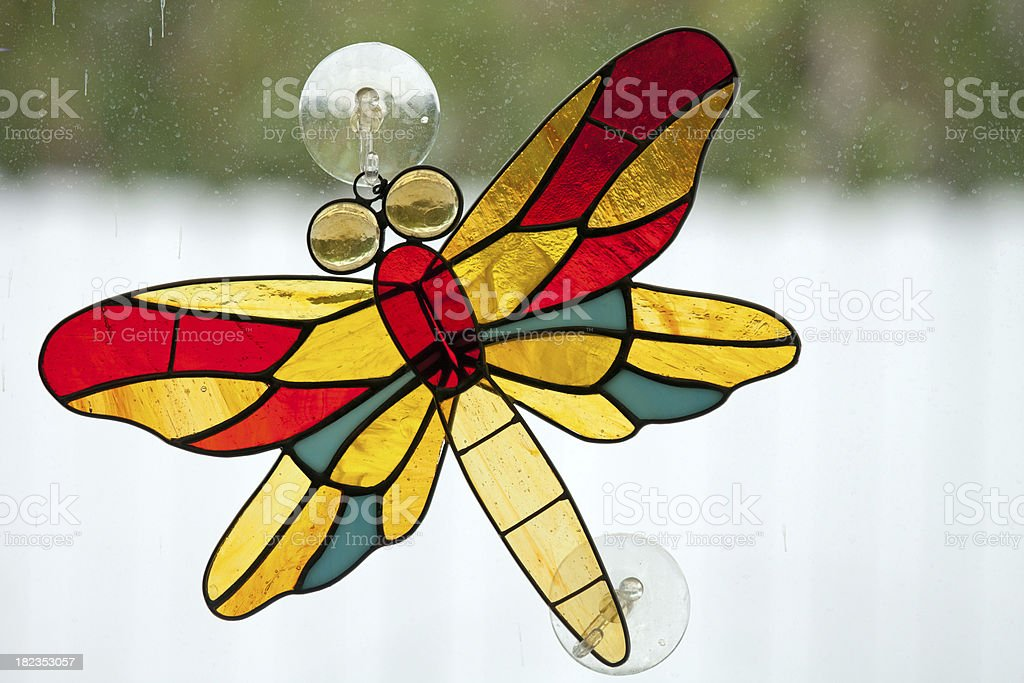 stained leaded glass dragon fly royalty-free stock photo