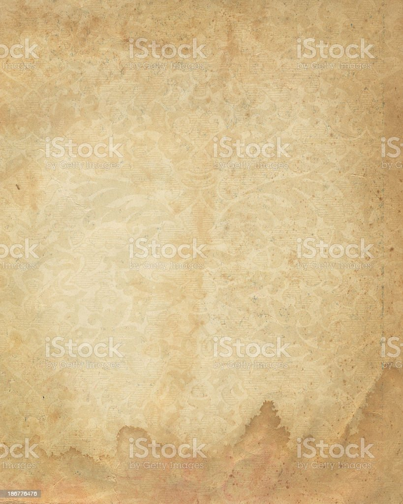 stained paper with faded floral pattern royalty-free stock photo