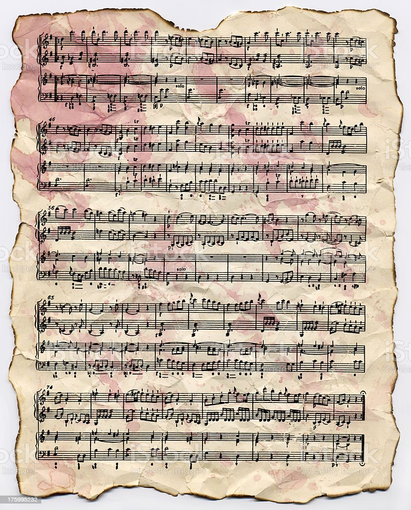 Stained Sheet Music royalty-free stock photo