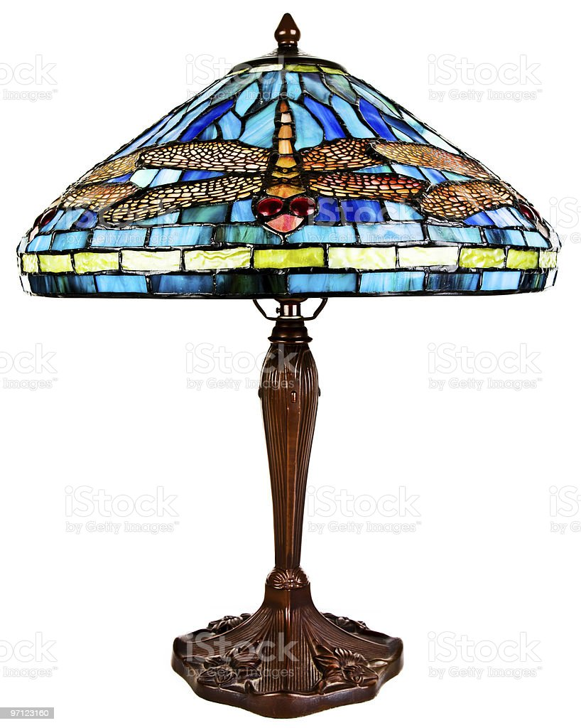 Stained Tiffany Glass Table Lamp stock photo