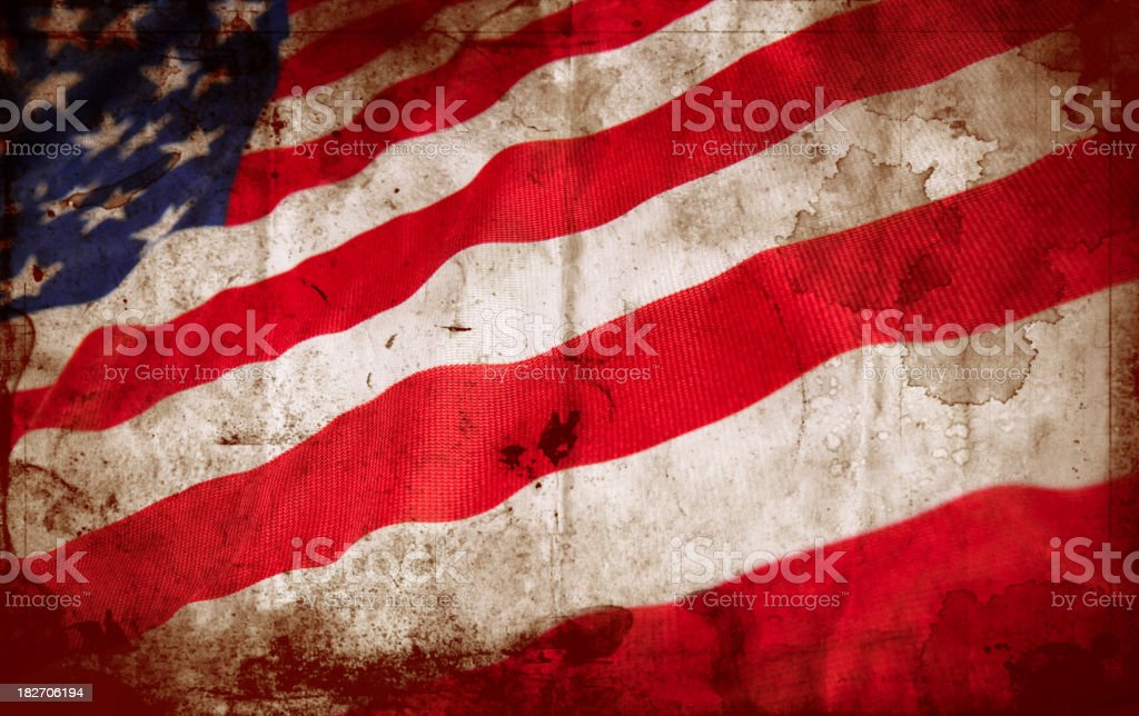 Stained United States flag royalty-free stock photo