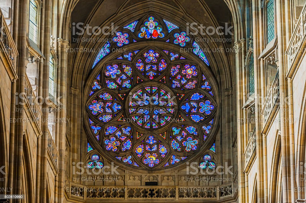 PRAGUE - OCTOBER 02: Stained windows in St. Vitus Cathedral stock photo
