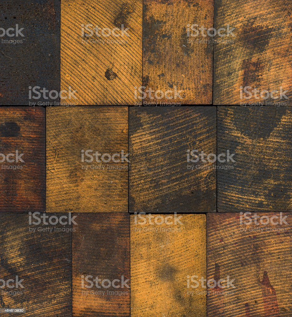 Stained Wooden Printing Blocks stock photo