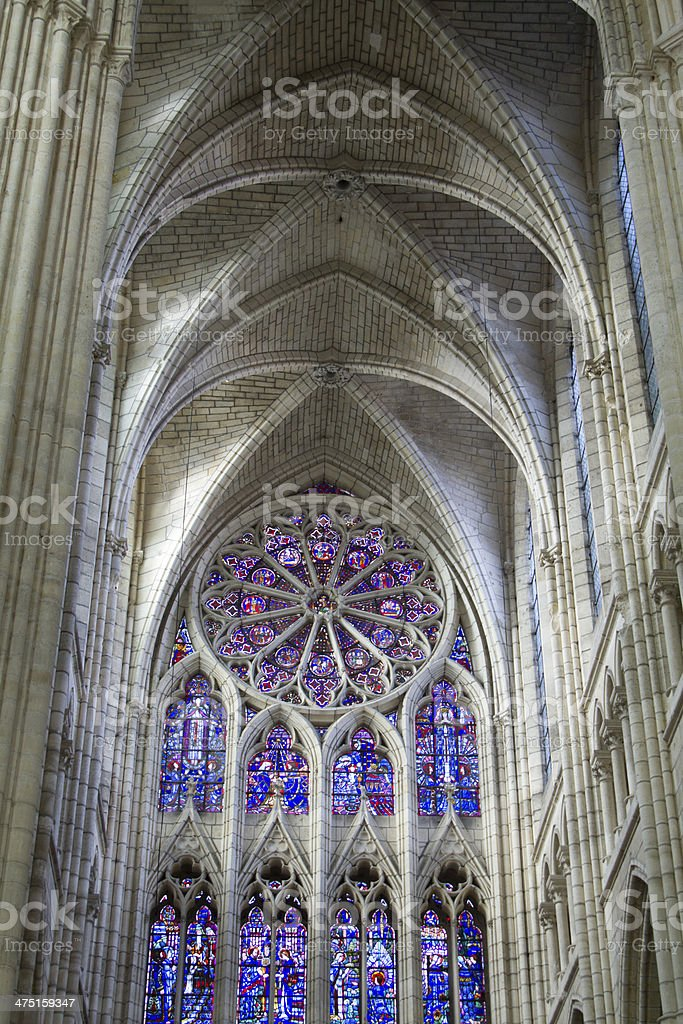Stained-glass window cathedral of soissons stock photo