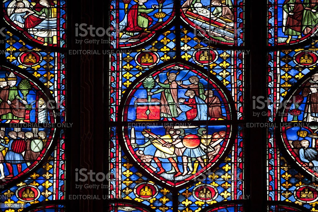 Stained-glass window in the Saint-Chapelle in Paris stock photo
