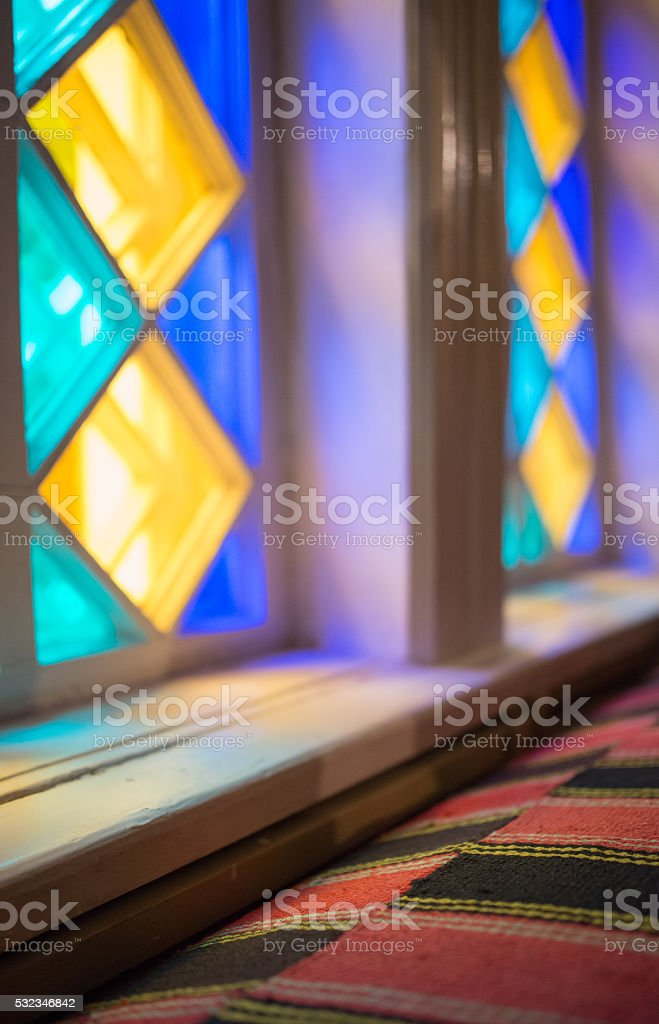 Stained-glass window Interrior fragment stock photo