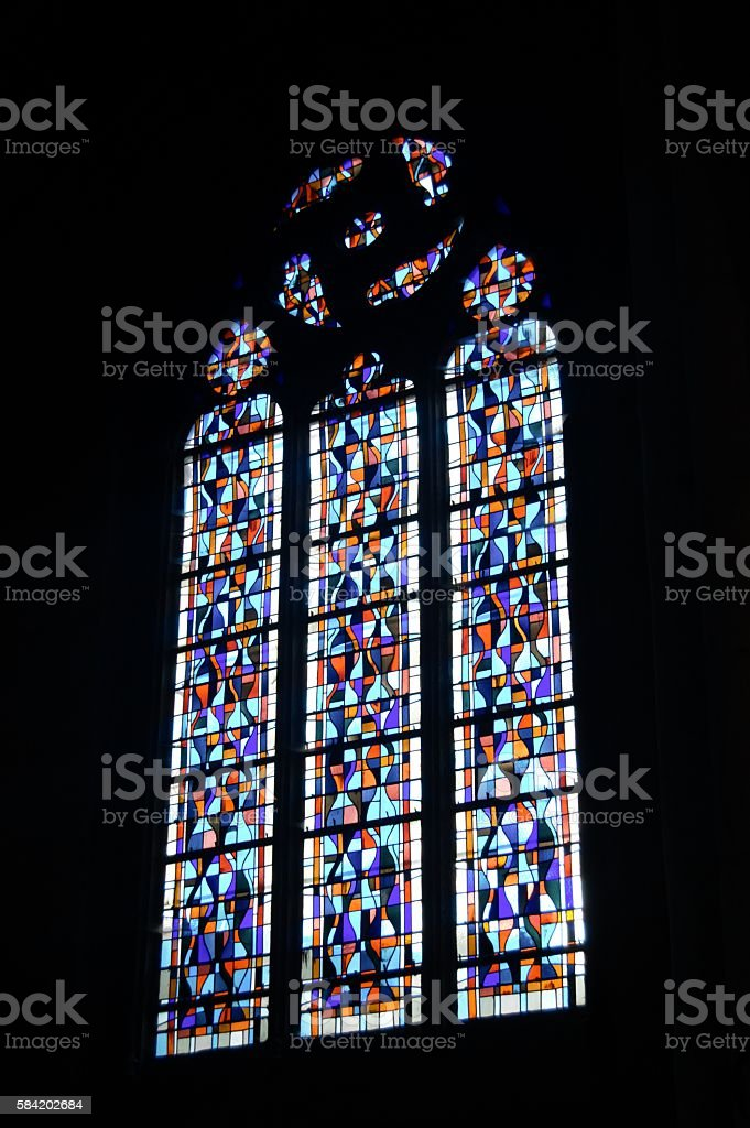 stained-glass window Louviers church stock photo