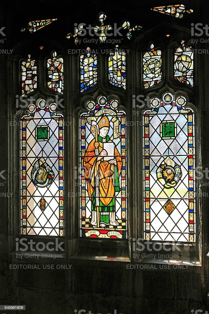Stained-glass windows in the Cloisters of Bristol Cathedral Church UK stock photo