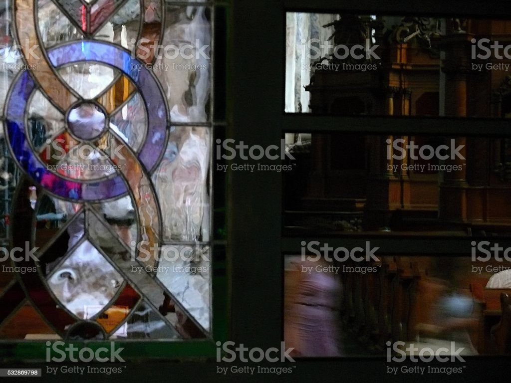 stained-glass windows in the doors stock photo