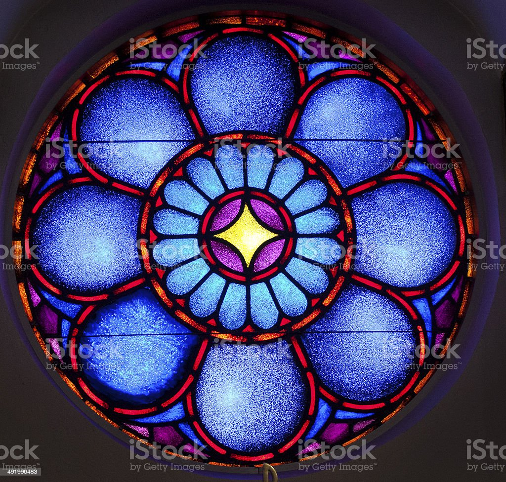 stainglass window blue stock photo