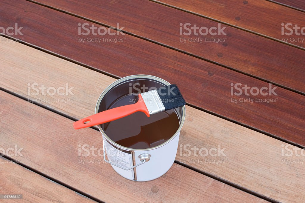 Staining Hardwood Decking royalty-free stock photo
