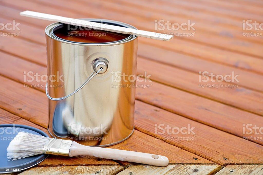 Staining hardwood patio deck stock photo