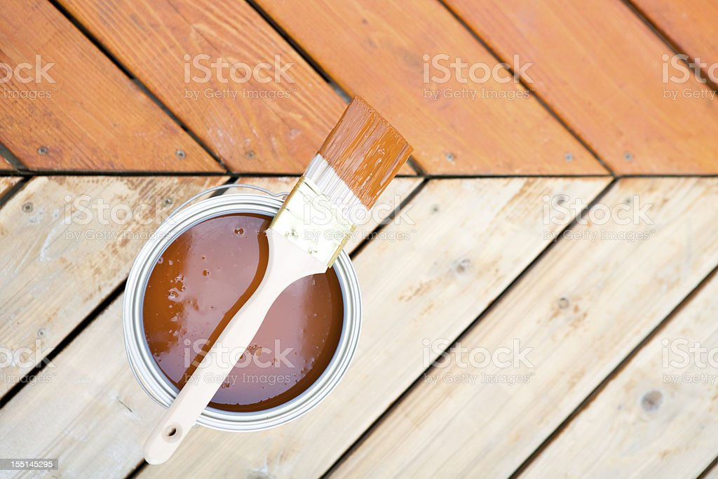 Staining hardwood patio deck stock photo