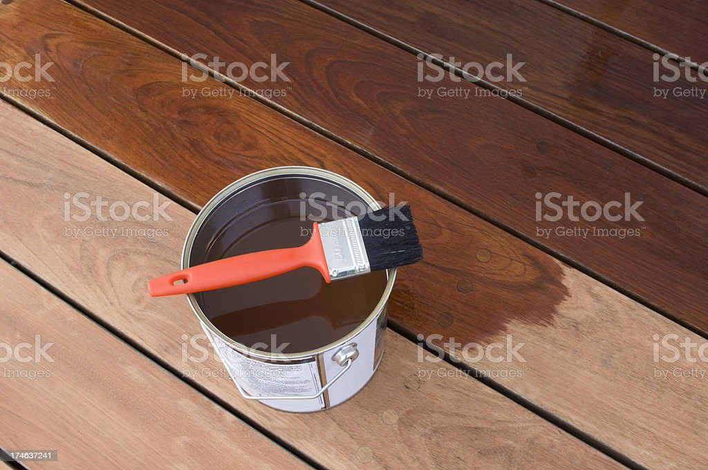 Staining Hardwood Patio Decking stock photo
