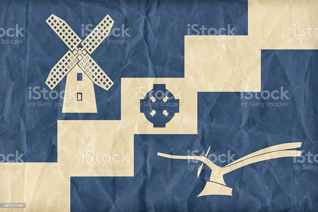 Staining, Lancashire flag pattern on paper texture,retro vintage stock photo