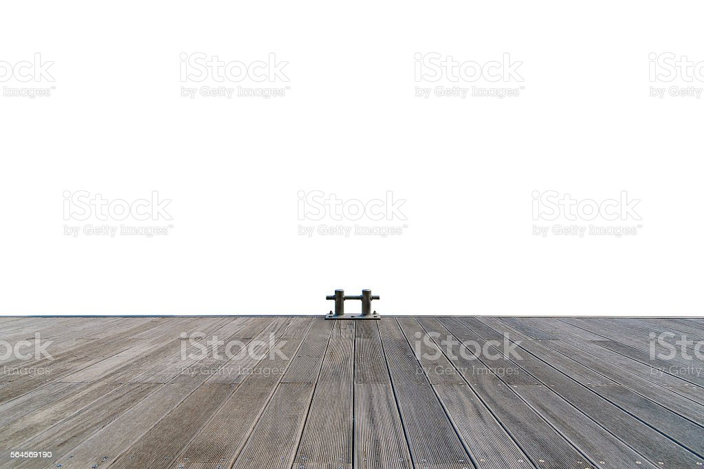 Stainless boat bollard and wooden walkway isolated on white background. stock photo