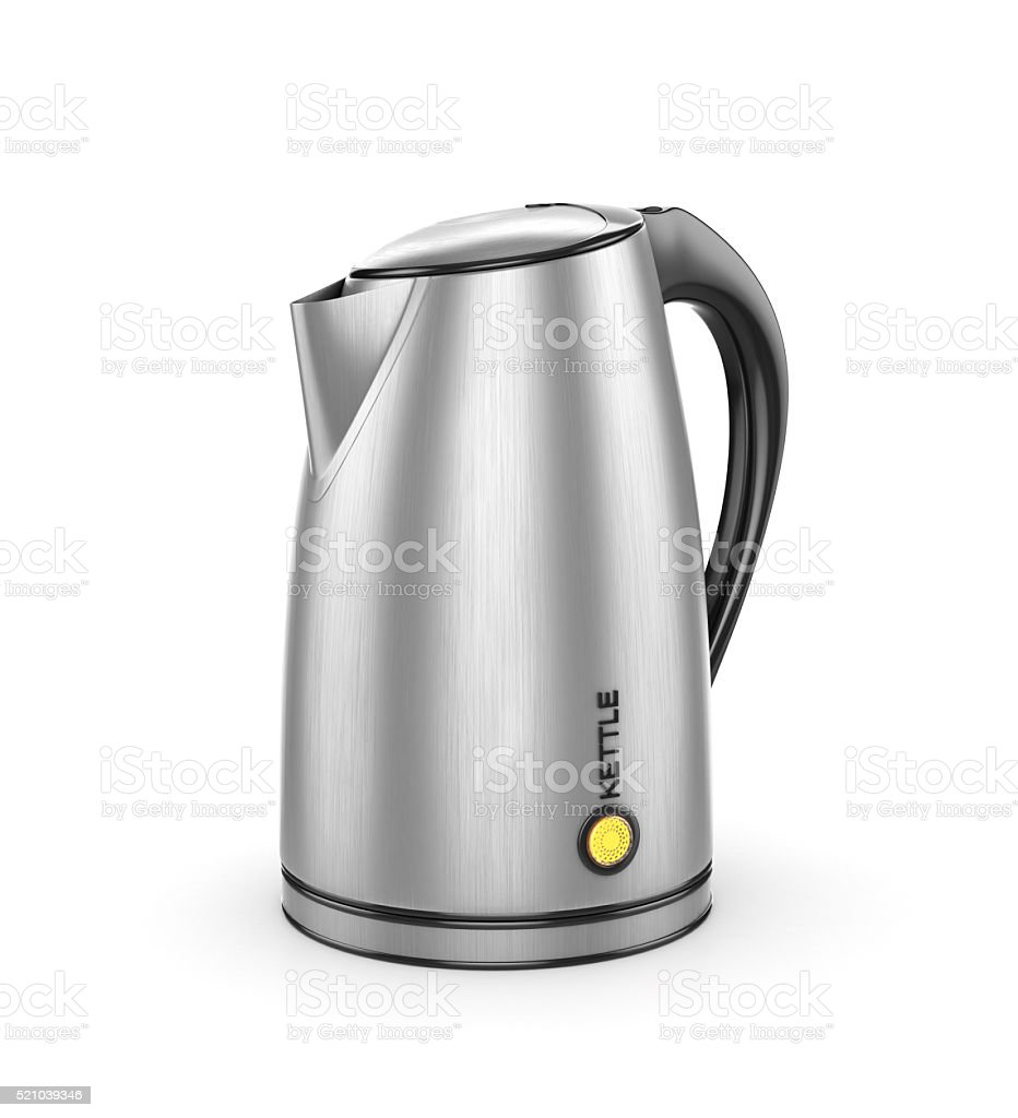 Stainless electric kettle isolated on white. 3d illustration stock photo