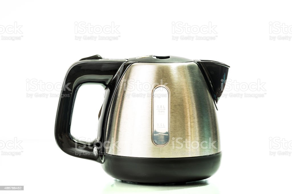 stainless electric kettle isolated on white background stock photo